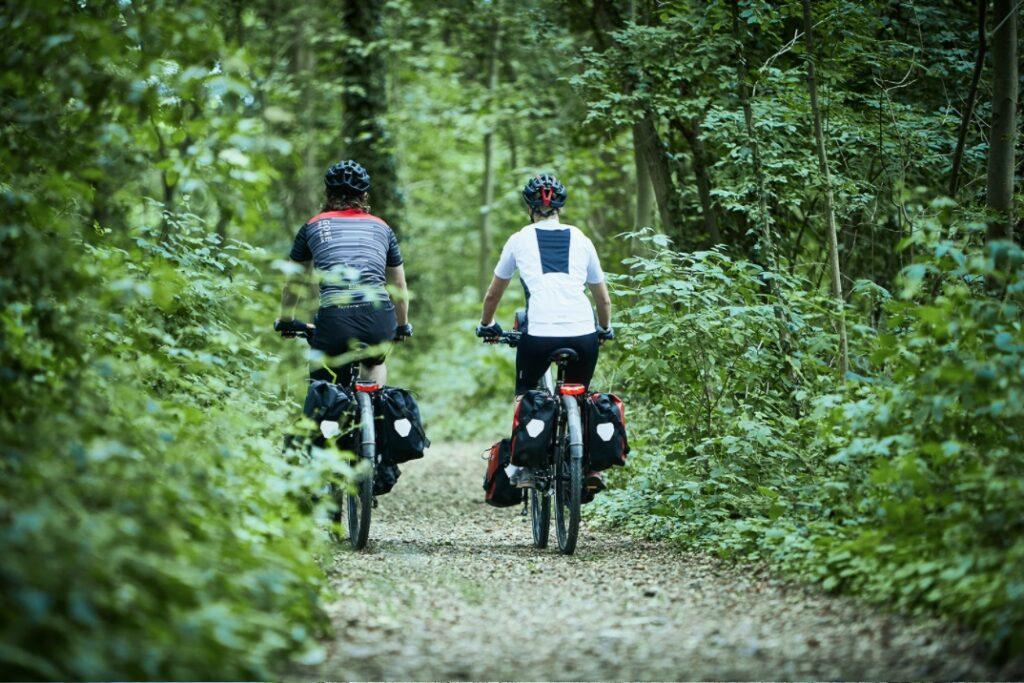 To mennesker på cykler i skoven | Elcykelferien