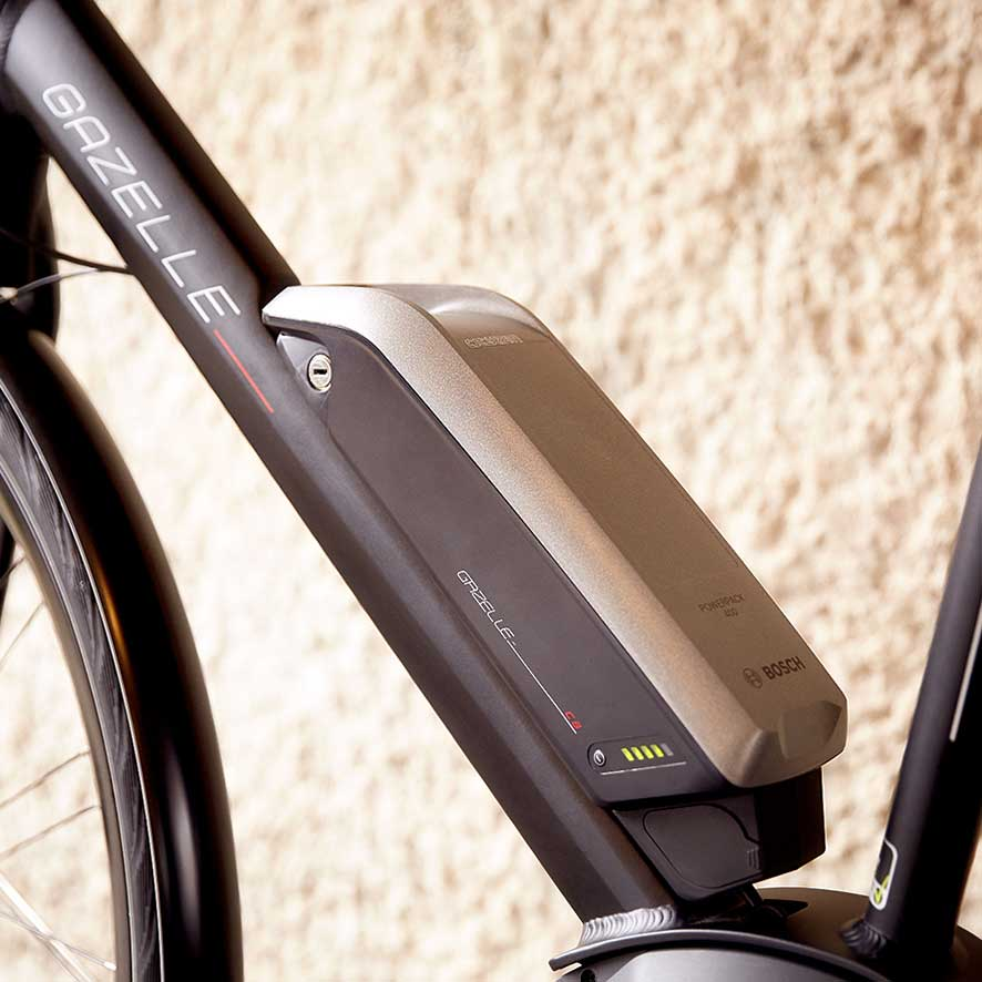 E-bikes with the battery in or on the frame have the centre of gravity in the middle of the bike.