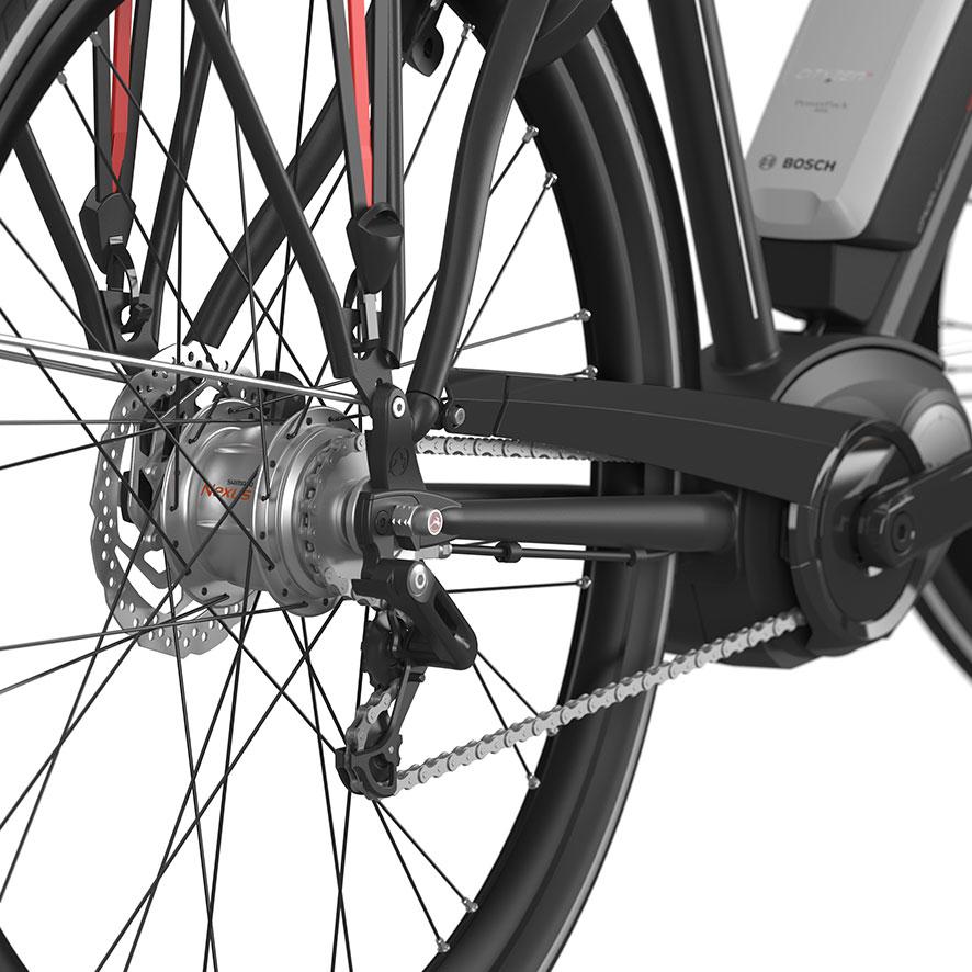 Gearskiftemekanismen og tandhjulene er monteret på baghjulet.