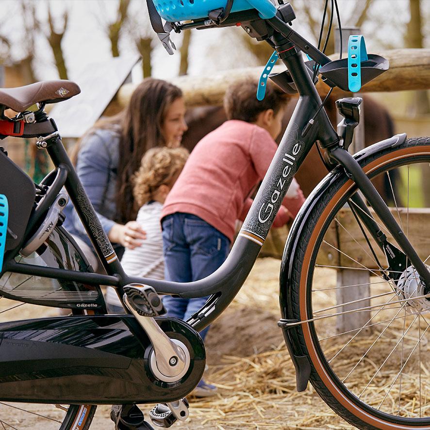 På den ekstra lange bagagebærer bagpå kan du altid have en cykeltaske med, også når du har en cykelstol bagpå.