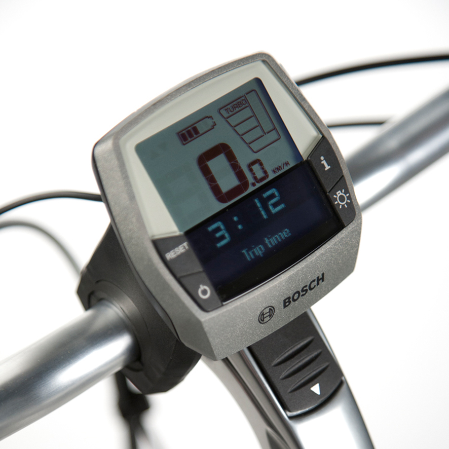 På cykler med Bosch Intuvia-displayet er der 4 indstillinger til trædeassistancen: Turbo, Sport, Tour og Eco.