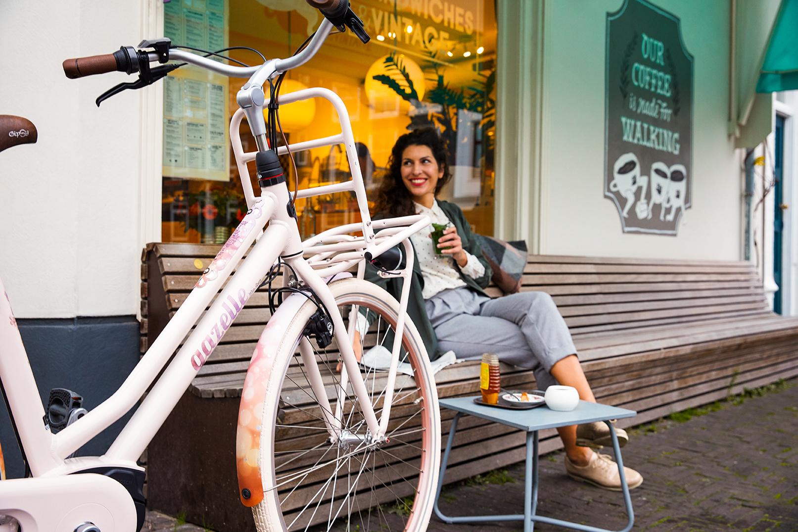 Transportcyklen til kvinder er både robust og elegant. Giv din Gazelle transportcykel en ekstra designdetalje med en farverig kurv eller kasse på forbagagebæreren.