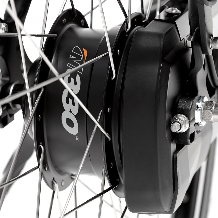 With hub gears, all the gears are concealed in the rear-wheel hub.