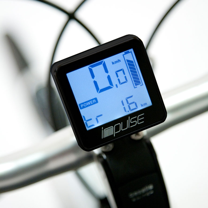 The standard display with your Impulse mid-mounted motor is positioned in the middle of the handlebar. You operate this clearly laid out centre display with the handlebar grip.