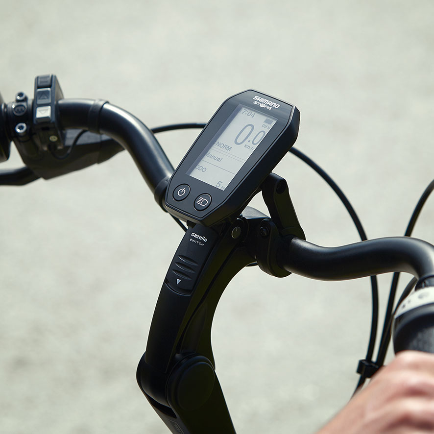 Het standaard display bij jouw Shimano Steps middenmotor zit in het midden van het stuur.