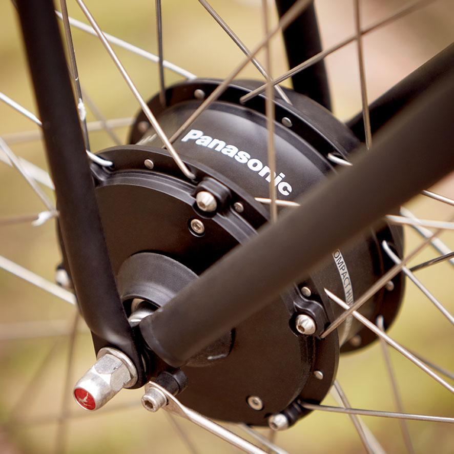 Die Kombination eines Fahrrads von Gazelle und eines Vorderradmotors von Panasonic bürgt für robuste Qualität und vielfältige Optionen.